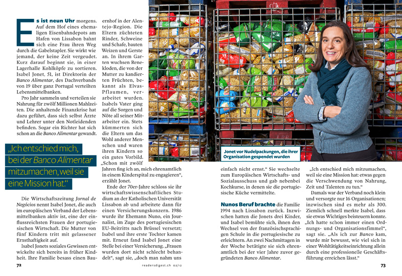 Isabel Jonet, Banco Alimentar, Reader's Digest