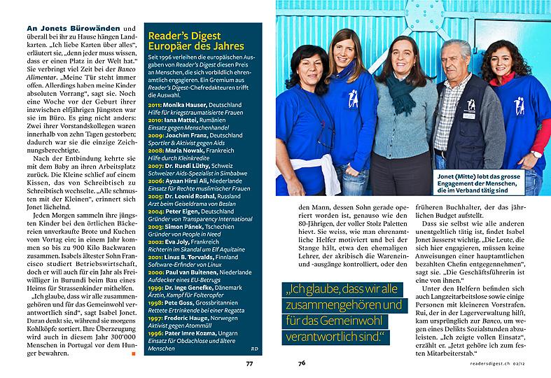 Isabel Jonet, Banco Alimentar, Reader's Digest