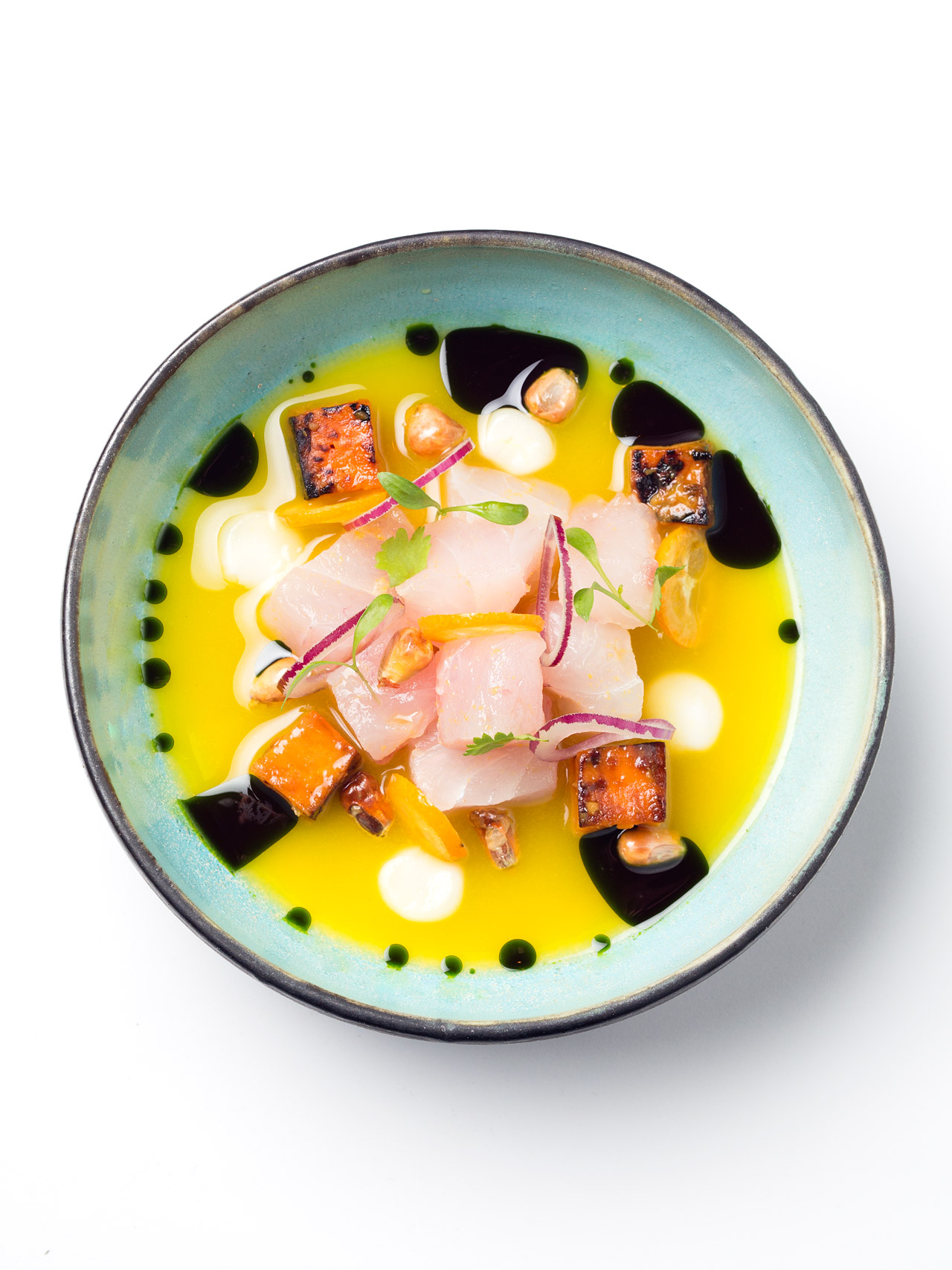 Sea bass ceviche with kumquats and leche de tigre at Restraurant Pakta, Barcelona