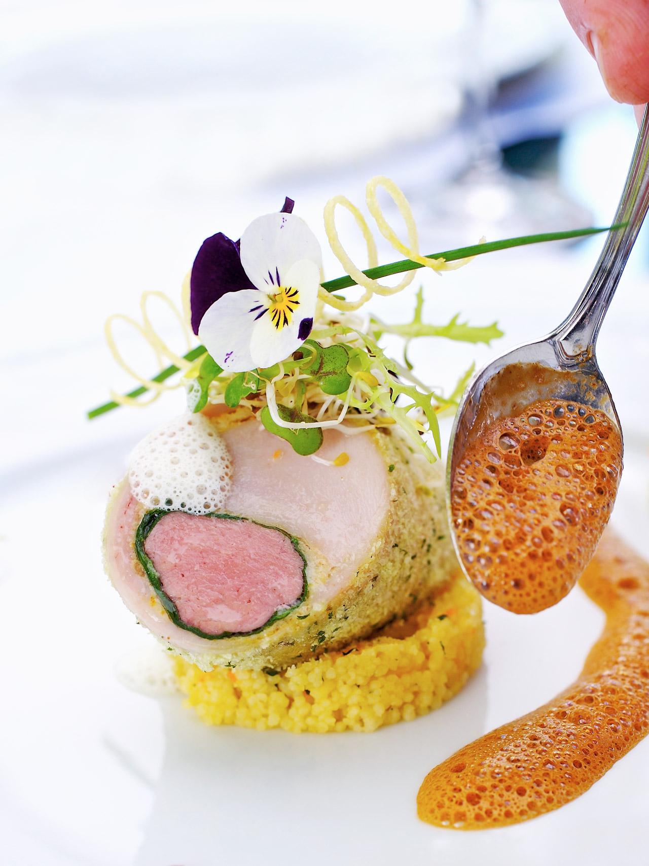 Rabbit roll with couscous for Der Feinschmecker
